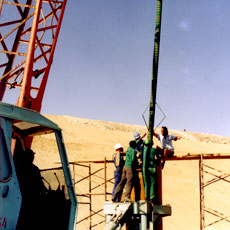 Pressure relief wells being installed at Omdel Dam - Namibia